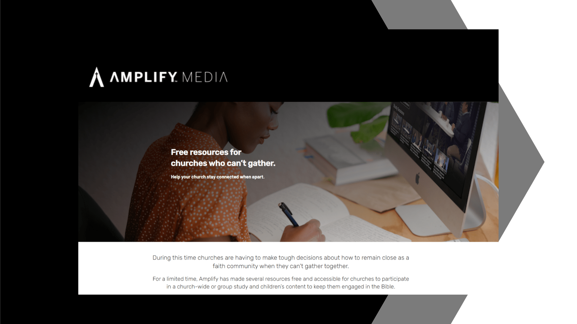 dark background with shaded picture of a women writing in a journal while on the Amplify Media site