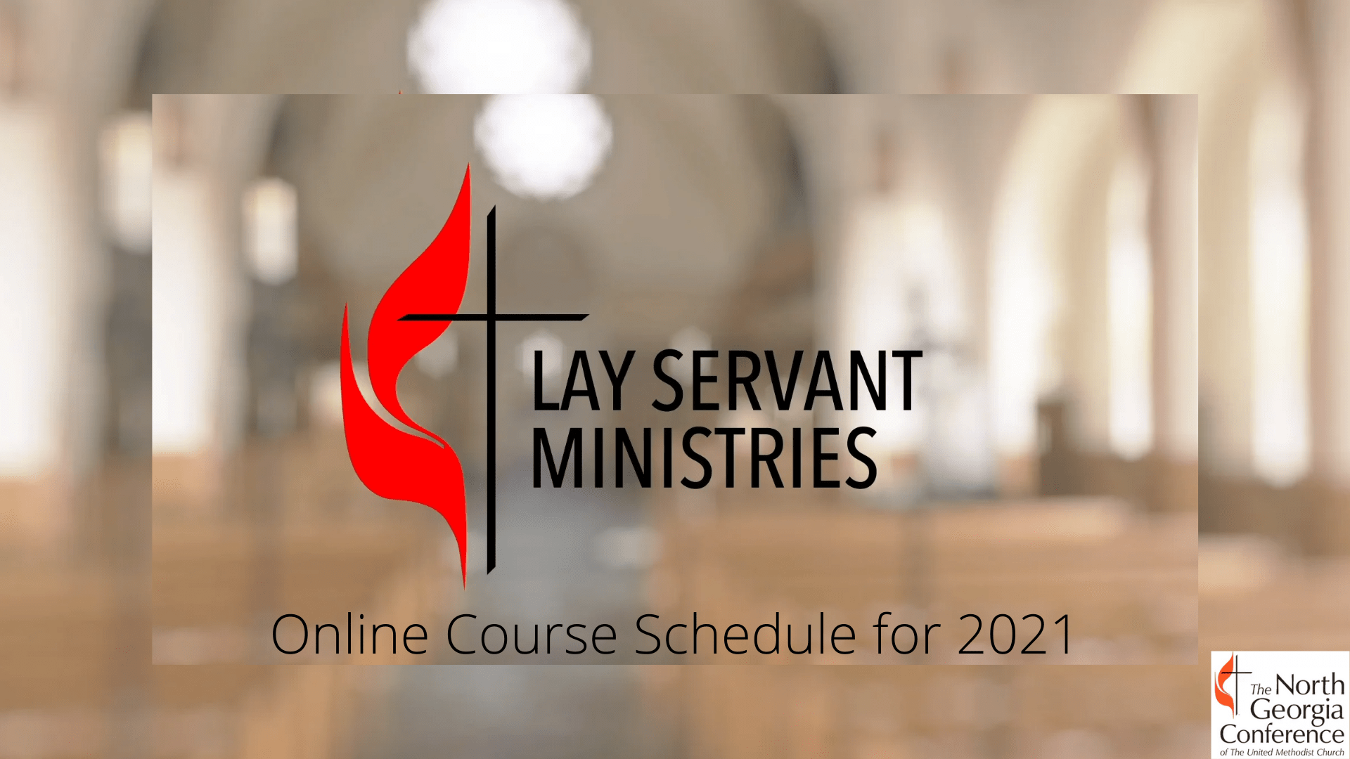Lay Servant Online Schedule 2021, Cross & Flame, blurry background
