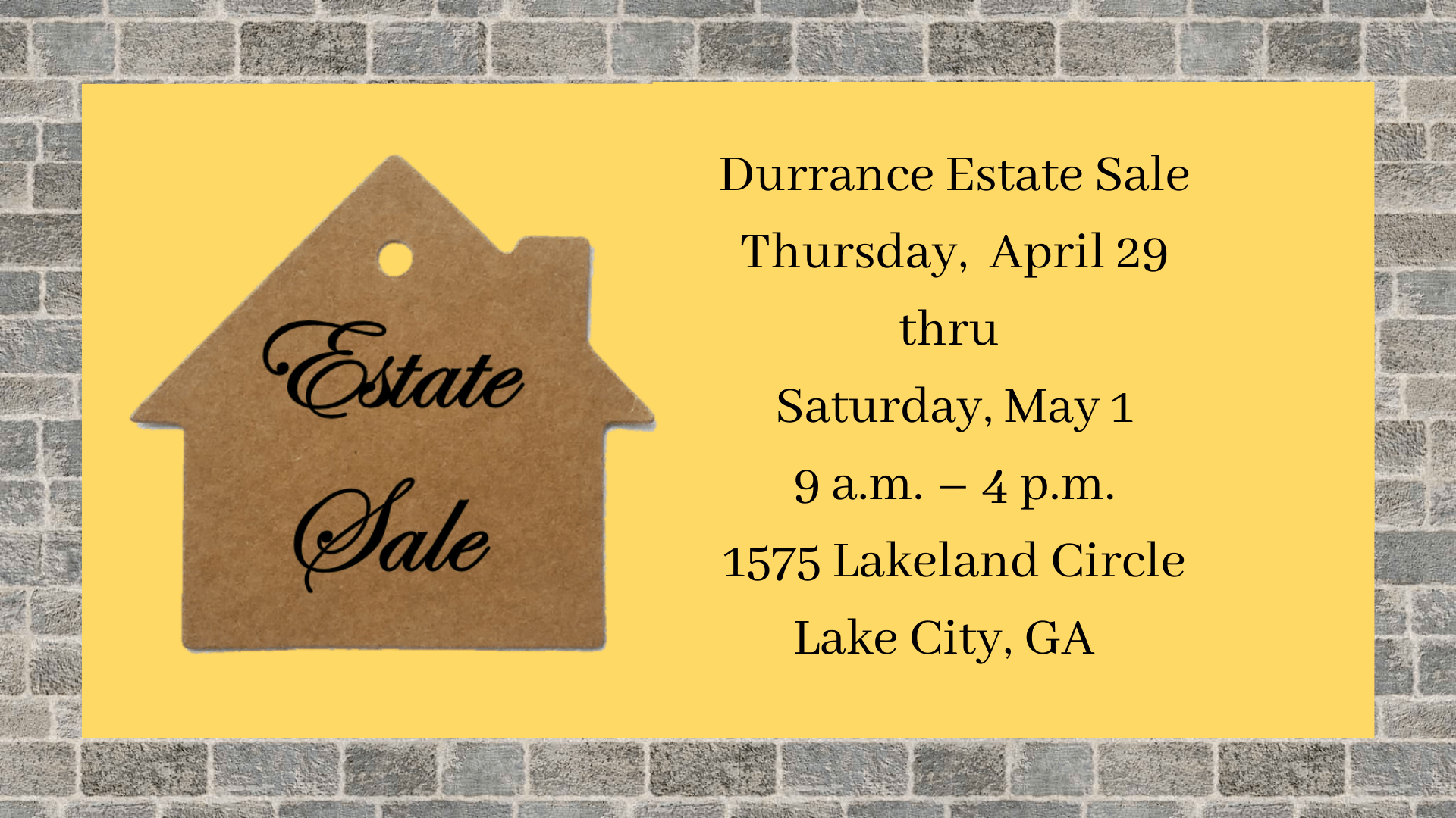 House Shaped sales tag for Estate Sale announcement